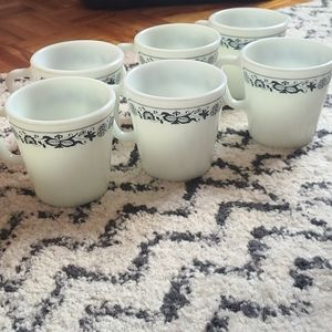 Old Town blue set of 6 pyrex mugs